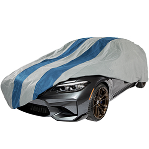 Rally X Defender Grey and Navy Blue Hatchback Cover for Hatchbacks up to 13 Ft. 5 In. Long