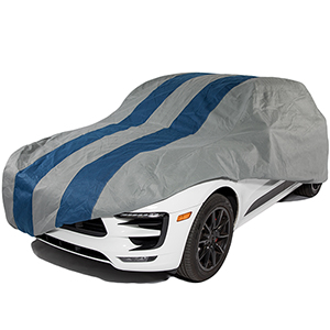 Rally X Defender Grey and Navy Blue SUV or Truck Cover for SUVs or Trucks with Shell or Bed Cap up to 17 Ft. 5 In. Long