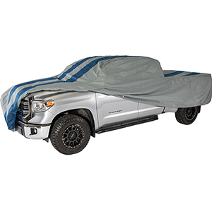 Rally X Defender Grey and Navy Blue Pickup Truck Cover for Extended Cab Short Bed Trucks up to 19 Ft. 4 In. Long
