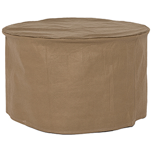 Essential Latte 31 In. Round Patio Ottoman or Side Table Cover