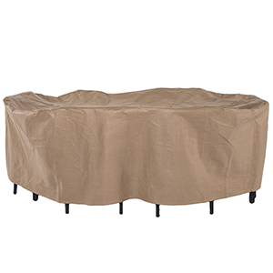 Essential Latte 96 In. Rectangular Oval Patio Table with Chairs Set Cover