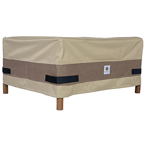 Elegant Swiss Coffee 40 In. Rectangular Patio Ottoman or Side Table Cover