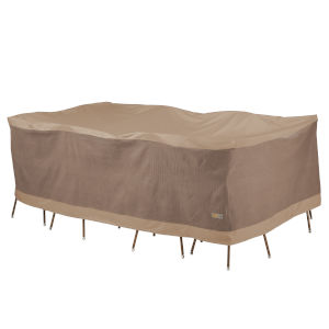 Elegant Swiss Coffee 127 In. Rectangular Oval Patio Table with Chairs Set Cover