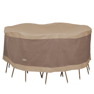 Elegant Swiss Coffee 72-Inch Round Table and Chair Set Cover