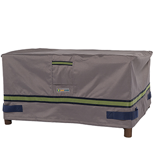Soteria Grey RainProof 52 In. Rectangular Patio Ottoman or Side Table Cover