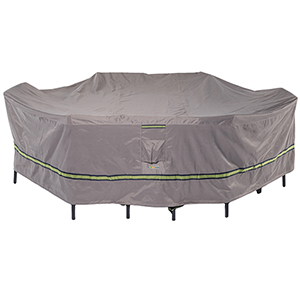 Soteria Grey RainProof 140 In. Rectangular Oval Patio Table with Chairs Cover