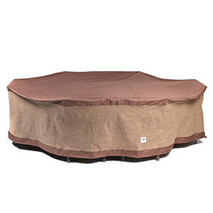 Ultimate Mocha Cappuccino 127 In. Rectangular Oval Patio Table with Chairs Cover