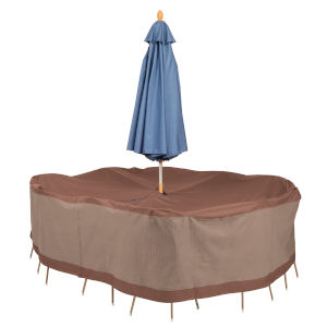 Ultimate Mocha Cappuccino 88-Inch Rectangular Oval Patio Table and Chair Set Cover with Umbrella Hole