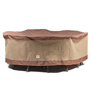 Ultimate Mocha Cappuccino 90 In. Round Patio Table with Chairs Cover
