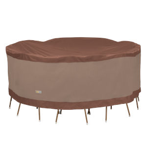 Ultimate Mocha Cappuccino 84-Inch Round Patio Table and Chair Set Cover