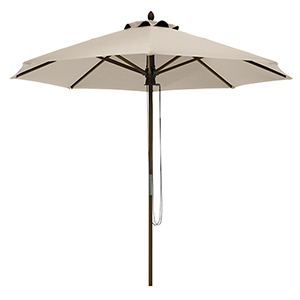 Elm Antique Beige Fade Safe 9 Ft. Round Bamboo Patio Umbrella