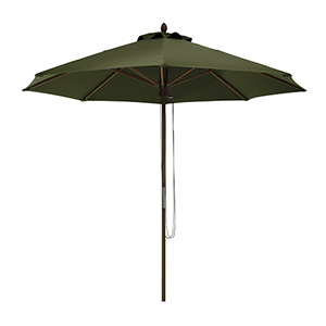 Elm Heather Fern Green Fade Safe 9 Ft. Round Bamboo Patio Umbrella