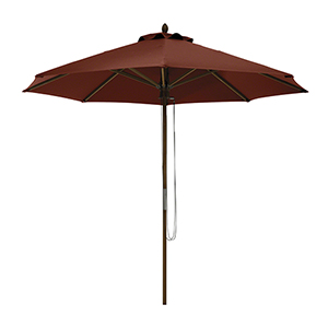Elm Heather Henna Red Fade Safe 9 Ft. Round Bamboo Patio Umbrella