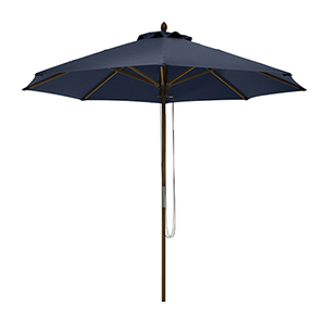 Elm Heather Indigo Blue Fade Safe 9 Ft. Round Bamboo Patio Umbrella