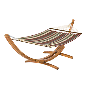 Elm Heather Henna Red Multi-Stripe Fade Safe Quilted Hammock with Wood Stand