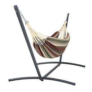 Elm Heather Henna Red Multi-Stripe Fade Safe Brazilian Hammock with Steel Stand