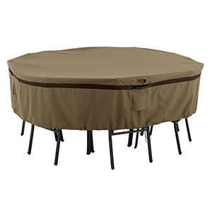 Eucalyptus Oak Small Heavy-Duty Round Patio Table and Chair Set Cover