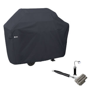 Poplar Black BBQ Grill Cover with Coiled Grill Brush and Magnetic LED Light