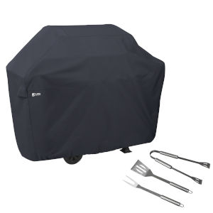 Poplar Black 70-Inch BBQ Grill Cover with Grill Tool Set