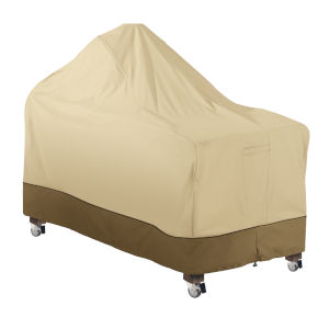 Ash Beige and Brown 60-Inch Kamado Ceramic BBQ Grill Cover