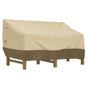 Ash Beige and Brown 76-Inch Deep Seated Seated Patio Sofa and Loveseat Cover