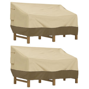 Ash Beige and Brown Seated Patio Sofa and Loveseat Cover, Set of 2