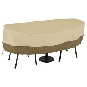 Ash Beige and Brown Bistro Round Patio Table and Chair Set Cover