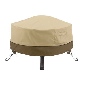 Ash Beige and Brown 30-Inch Full Coverage Round Fire Pit Cover