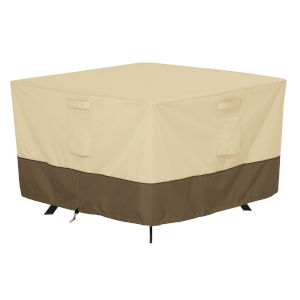 Ash Beige and Brown 40-Inch Square Patio Table Cover