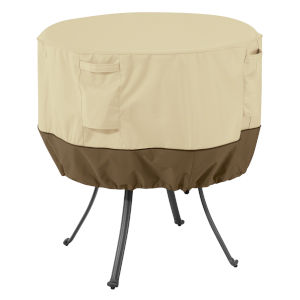 Ash Beige and Brown 50-Inch Round Patio Table Cover