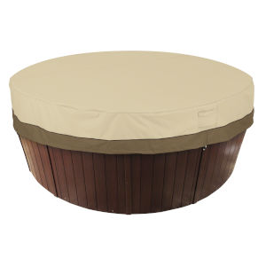 Ash Beige and Brown Round Hot Tub Cover