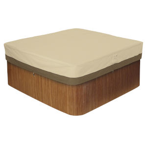Ash Beige and Brown Square Hot Tub Cover