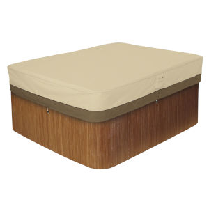 Ash Beige and Brown 82-Inch Rectangular Hot Tub Cover