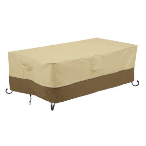 Ash Beige and Brown 56-Inch Rectangular Fire Pit Table Cover