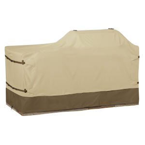 Ash Beige and Brown BBQ Grill Cover for 86-Inch Island with Left-Right Grill Head