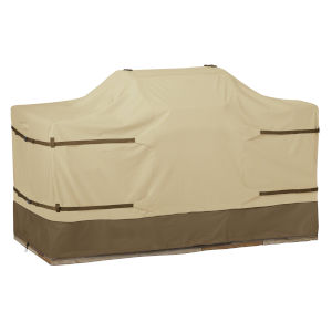 Ash Beige and Brown BBQ Grill Cover for 86-Inch Island with Center Grill Head