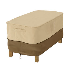 Ash Beige and Brown Rectangular Patio Ottoman and Side Table Cover