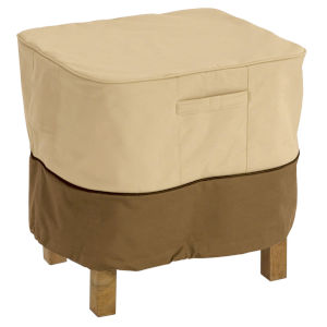 Ash Beige and Brown Square Patio Ottoman and Side Table Cover