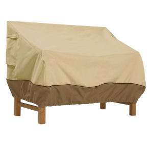 Ash Beige and Brown 58-Inch Deep Seated Patio Sofa and Loveseat Cover