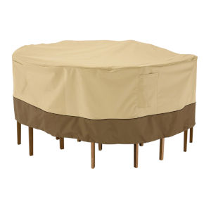 Ash Beige and Brown 82-Inch Round Patio Table and Chair Set Cover