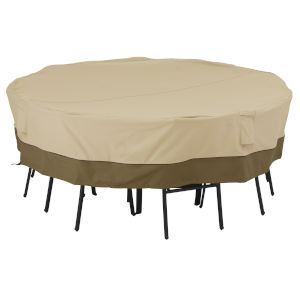 Ash Beige and Brown 86-Inch Square Patio Table and Chair Set Cover