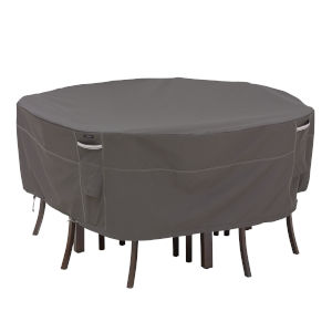 Maple Dark Taupe 82-Inch Round Patio Table and Chair Set Cover