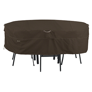 Birch Dark Cocoa Medium RainProof Rectangular Oval Patio Table and Chair Set Cover