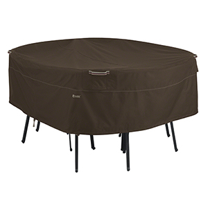 Birch Dark Cocoa Medium RainProof Round Patio Table and Chair Set Cover