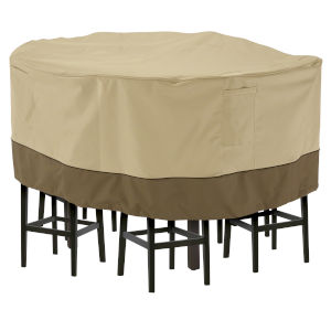 Ash Beige and Brown 70-Inch Tall Round Patio Table and Chair Set Cover
