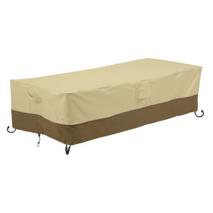 Ash Beige and Brown 60-Inch Rectangular Fire Pit Table Cover