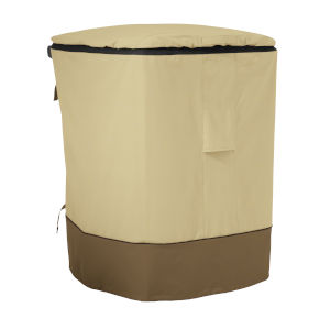 Ash Beige and Brown Outdoor Trash Cart Cover