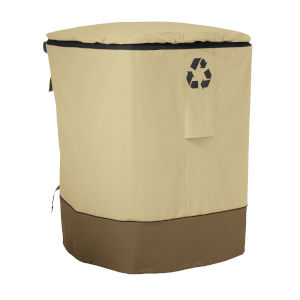 Ash Beige and Brown Outdoor Recycling Cart Cover