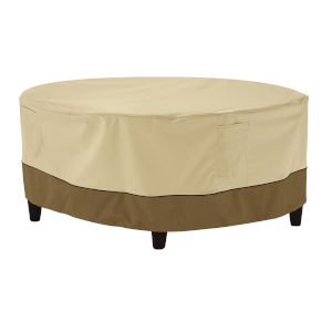 Ash Beige and Brown Round Patio Ottoman and Coffee Table Cover