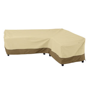 Ash Beige and Brown Patio Right facing Sectional Lounge Set Cover